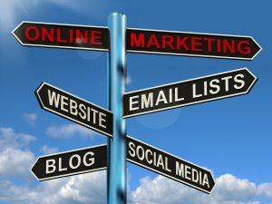 marketing-signpost-showing-blogs-websites-social-media-and-email-list